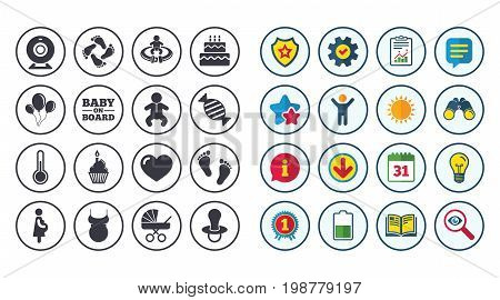 Set of Maternity, Pregnancy and Baby care icons. Video monitoring, Child and Pacifier signs. Footprint, Birthday cake and Newborn symbols. Calendar, Report and Book signs. Vector