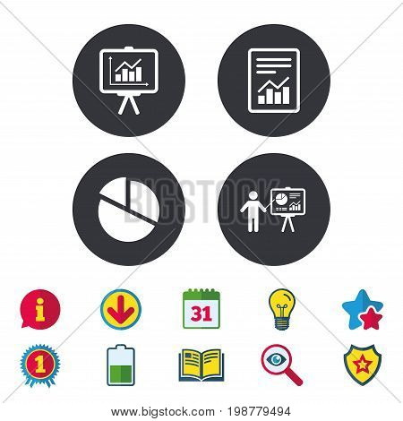 File document with diagram. Pie chart icon. Presentation billboard symbol. Supply and demand. Calendar, Information and Download signs. Stars, Award and Book icons. Light bulb, Shield and Search