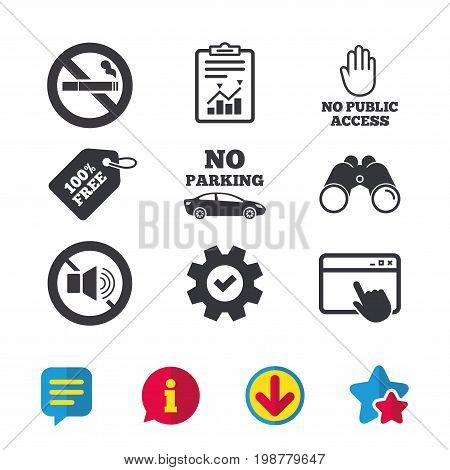 Stop smoking and no sound signs. Private territory parking or public access. Cigarette and hand symbol. Browser window, Report and Service signs. Binoculars, Information and Download icons. Vector