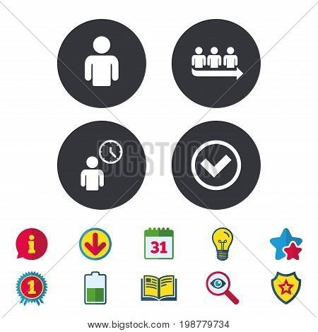 Queue icon. Person waiting sign. Check or Tick and time clock symbols. Calendar, Information and Download signs. Stars, Award and Book icons. Light bulb, Shield and Search. Vector