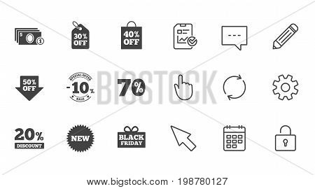 Sale discounts icon. Shopping, black friday and cash money signs. 10, 20, 50 and 70 percent off. Special offer symbols. Chat, Report and Calendar line signs. Service, Pencil and Locker icons. Vector