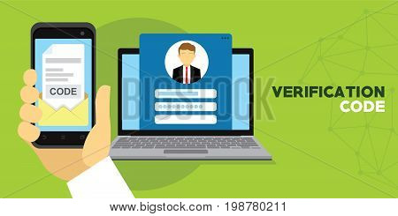verification code message confirmation for account vector illustration poster
