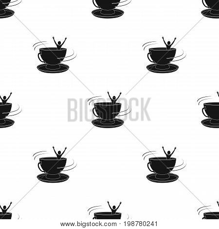 A large blue cup with a saucer with people inside. Entertainment in the amusement park.Amusement park single icon in black style vector symbol stock web illustration.