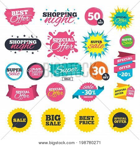 Sale shopping banners. Sale icons. Special offer speech bubbles symbols. Big sale and best price shopping signs. Web badges, splash and stickers. Best offer. Vector