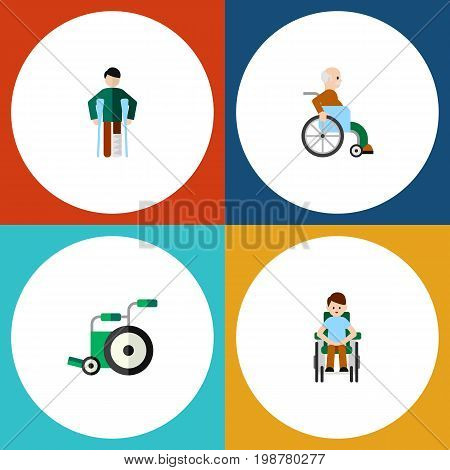Flat Icon Cripple Set Of Equipment, Disabled Person, Handicapped Man Vector Objects