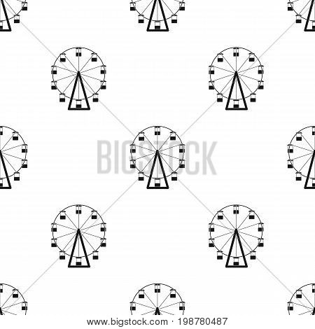 The wheel is in the amusement park. Slow attraction to explore the city.Amusement park single icon in black style vector symbol stock web illustration.