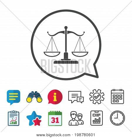 Scales of Justice sign icon. Court of law symbol. Information, Report and Calendar signs. Group, Service and Chat line icons. Vector
