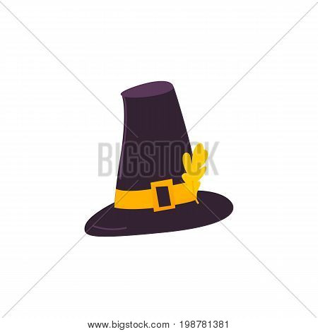 Cartoon style pilgrim hat decorated with yellow oak leaf, Thanksgiving Day symbol, vector illustration isolated on white background. Cartoon black pilgrim hat isolated on white background