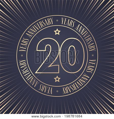 20 years anniversary vector icon logo. Graphic design element with golden stamp with number for 20th anniversary ceremony
