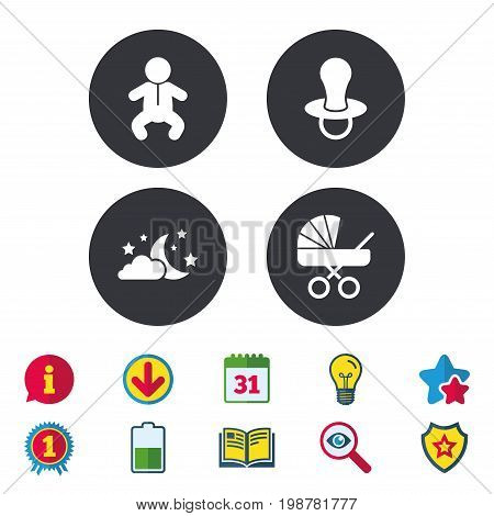 Moon and stars symbol. Baby infants icon. Buggy and dummy signs. Child pacifier and pram stroller. Calendar, Information and Download signs. Stars, Award and Book icons. Light bulb, Shield and Search