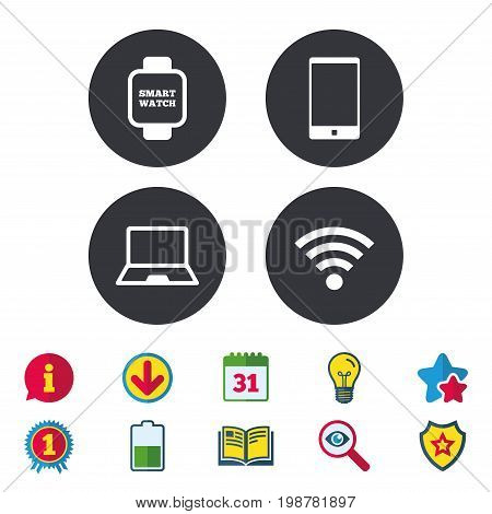 Notebook and smartphone icons. Smart watch symbol. Wi-fi sign. Wireless Network symbol. Mobile devices. Calendar, Information and Download signs. Stars, Award and Book icons. Vector