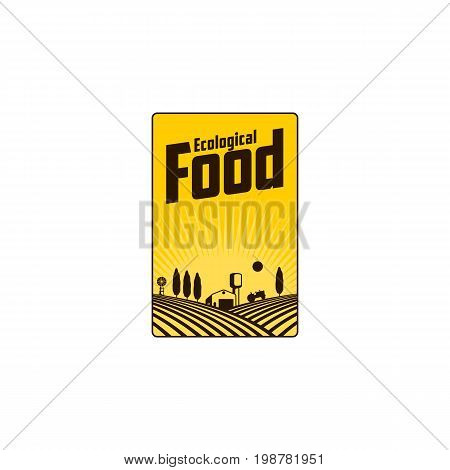 Vertical farm logo, badge, label with field, tractor, house and water tower over raising sun background, vector illustration. Two color vertical logo, badge, label design with farm house and fields