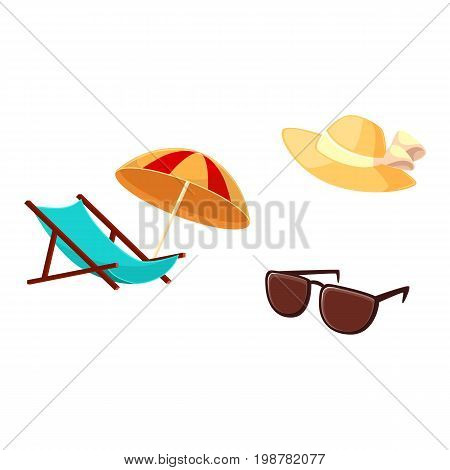 Summer vacation objects - lounge chair, beach umbrella, straw hat, sunglasses, cartoon vector illustration isolated on white background. Cartoon lounge chair, beach umbrella, straw hat, sunglasses