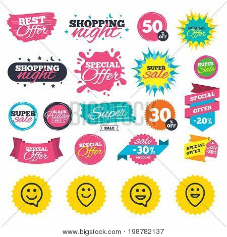 Sale shopping banners. Happy face speech bubble icons. Smile sign. Map pointer symbols. Web badges, splash and stickers. Best offer. Vector