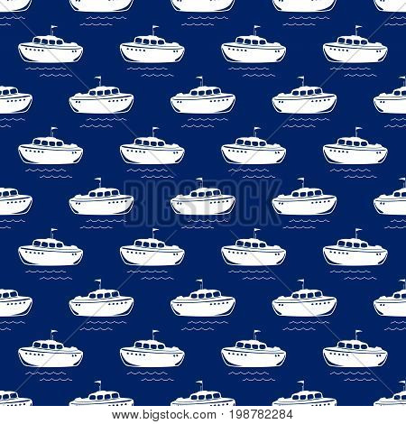 Seamless Travel Pattern with Lifeboatl Marine Tourism Concept Vector Illustration