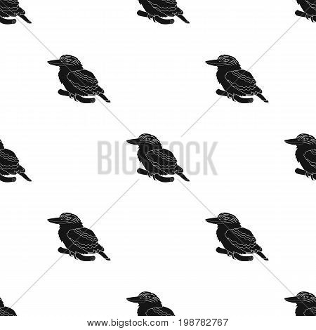 Kookaburra sitting on branch icon in black design isolated on white background. Australia symbol stock vector illustration.