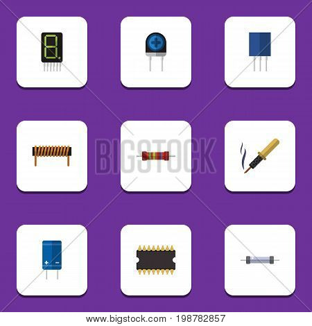 Flat Icon Electronics Set Of Microprocessor, Transducer, Resistor And Other Vector Objects