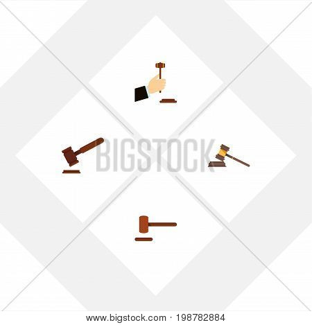 Flat Icon Court Set Of Court, Law, Defense And Other Vector Objects
