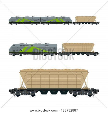 Green Locomotive with Hopper Car for Transportation Freights Train Isolated Railway and Cargo Transport Vector Illustration