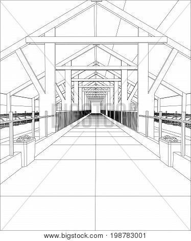 Wire-frame industrial building indoor on the white. Tracing illustration of 3d.