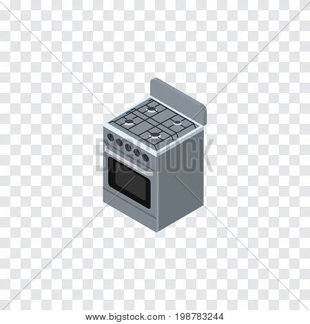 Stove Vector Element Can Be Used For Stove, Cooker, Kitchen Design Concept.  Isolated Cooker Isometric.