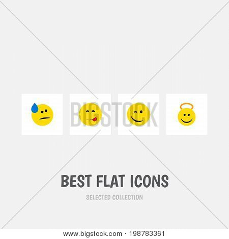 Flat Icon Emoji Set Of Winking, Tears, Delicious Food And Other Vector Objects