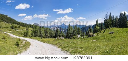View from Auernig Alm on Nassfeld in Carnic Alps to Julian Alps in Italy