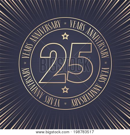 25 years anniversary vector icon logo. Graphic design element with golden stamp with number for 25th anniversary ceremony