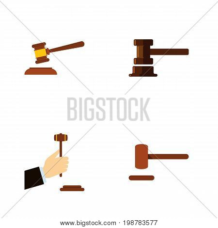Flat Icon Hammer Set Of Defense, Hammer, Law And Other Vector Objects