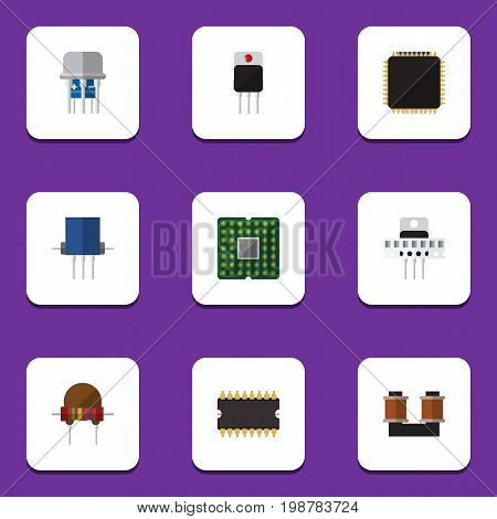 Flat Icon Technology Set Of Resistance, Cpu, Microprocessor And Other Vector Objects
