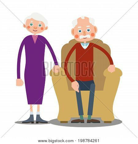 An elderly man is sitting in a large armchair and next to him stands an elderly woman. Illustration in flat style. Isolated
