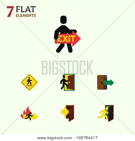 Flat Icon Exit Set Of Entry, Direction Pointer, Directional And Other Vector Objects