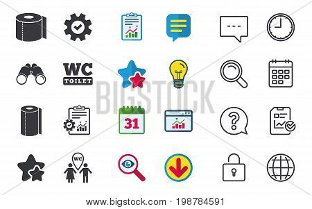 Toilet paper icons. Gents and ladies room signs. Paper towel or kitchen roll. Man and woman symbols. Chat, Report and Calendar signs. Stars, Statistics and Download icons. Question, Clock and Globe