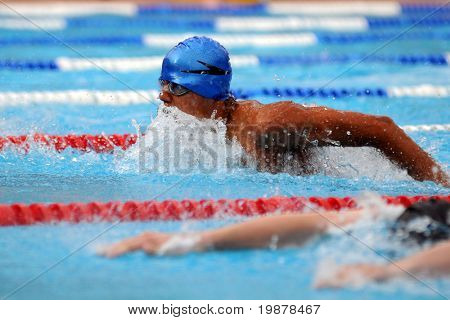 KAPOSVAR, HUNGARY - JUNE 18: Unidentified competitor swims at the Hungarian Country Championship on June 18, 2008 in Kaposvar, Hungary.