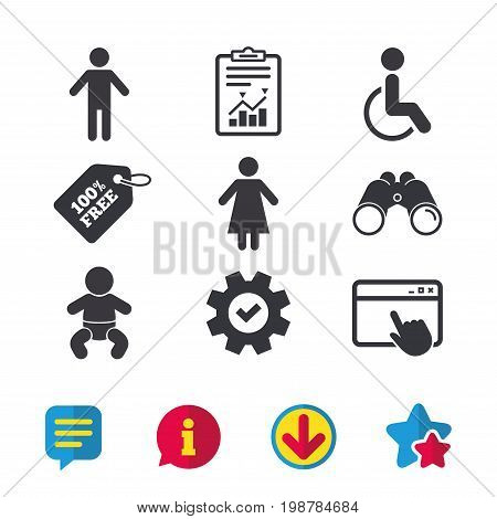 WC toilet icons. Human male or female signs. Baby infant or toddler. Disabled handicapped invalid symbol. Browser window, Report and Service signs. Binoculars, Information and Download icons. Vector