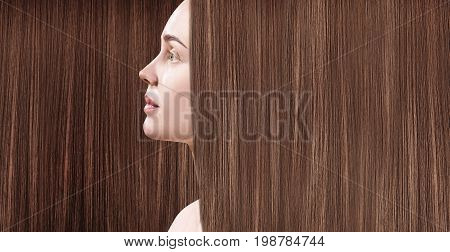 Beautiful woman with luxurious long brown hair as background. Beautiful long smooth shiny straight hair. Hairstyle concept.