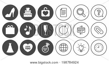 Wedding, engagement icons. Cake with heart, gift box and brilliant signs. Dress, shoes and musical notes symbols. Document, Globe and Clock line signs. Lamp, Magnifier and Paper clip icons. Vector