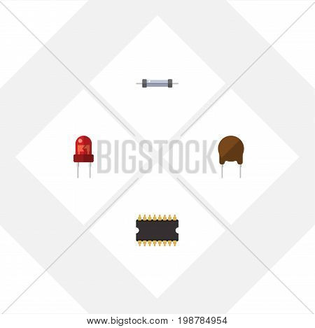 Flat Icon Appliance Set Of Microprocessor, Resistor, Recipient And Other Vector Objects