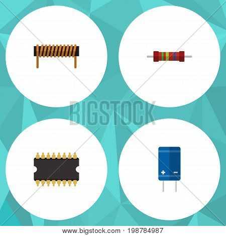 Flat Icon Electronics Set Of Resistance, Transistor, Bobbin And Other Vector Objects