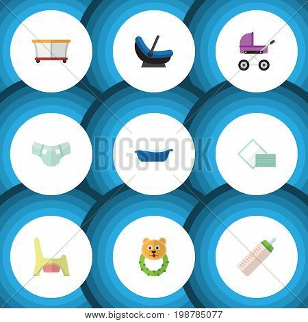 Flat Icon Infant Set Of Stroller, Playground, Bathtub And Other Vector Objects