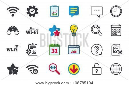 Free Wifi Wireless Network icons. Wi-fi zone locked symbols. Password protected Wi-fi sign. Chat, Report and Calendar signs. Stars, Statistics and Download icons. Question, Clock and Globe. Vector