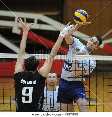 KAPOSVAR, Hongrie - 5 janvier : Suljagic (L) et Nagy (R) en action à un gam de volley Challenge Cup