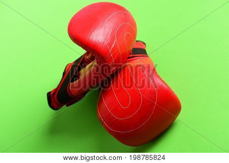 Bright Red Sports Gloves For Boxing With Stripes