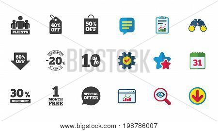 Sale discounts icon. Shopping, clients and speech bubble signs. 20, 30, 40 and 50 percent off. Special offer symbols. Calendar, Report and Download signs. Stars, Service and Search icons. Vector
