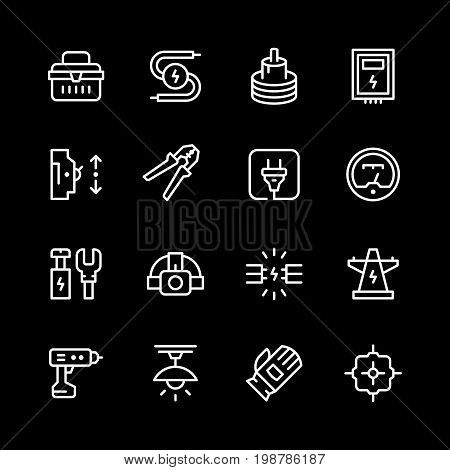 Set line icons of electricity isolated on black. Vector illustration