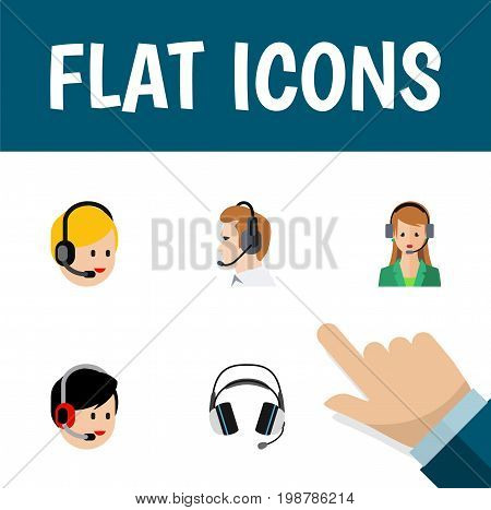 Flat Icon Hotline Set Of Telemarketing, Secretary, Operator And Other Vector Objects