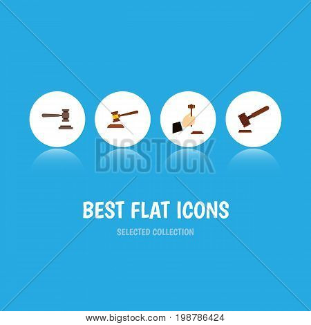 Flat Icon Hammer Set Of Legal, Justice, Law And Other Vector Objects