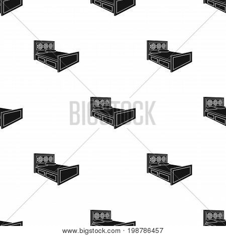 Double bed with red sheets.Bed with brown wooden headboard.Bed single icon in black style vector symbol stock web illustration.