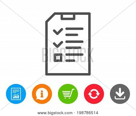 Checklist Document line icon. Information File sign. Paper page concept symbol. Report, Information and Refresh line signs. Shopping cart and Download icons. Editable stroke. Vector