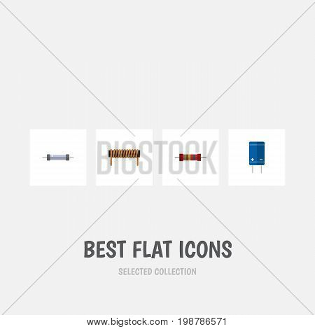 Flat Icon Electronics Set Of Transistor, Bobbin, Resistor And Other Vector Objects